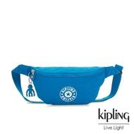 【KIPLING】復古藍搶眼大LOGO潮流隨身腰包-FRESH