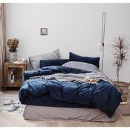 高端優質品 寶藍色 深藍色 天鵝絨 單人加大床組 鬆緊帶四件組 秋冬加厚刷毛床包床單組 秋冬保暖床組 素面床單色