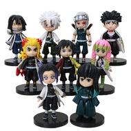 9Pcs Anime Figurine Demon Slayer Kimetsu No Yaiba Tomioka Giyuu Kochou Shinobu Shinazugawa Genya Makomo Q Posket Figure Set Toys