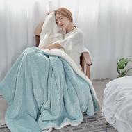 日式麻花剪緹花-加厚法蘭絨x羊羔絨雙面保暖毯|冬被|暖暖被(150x200cm)【青鳥綠】