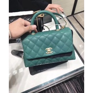 chanel  handle  coco 綠色荔枝紋 手提袋 28cm