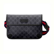 GUCCI GG SUPREME BLACK BELT BAG (BLACK/GREY)