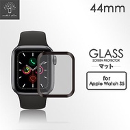 Metal-Slim Apple Watch Series 5 44mm 3D全膠滿版鋼化玻璃保護貼-晶鑽黑