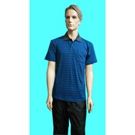 SKIP精品--咖啡紗男條紋POLO衫(藍)