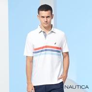 Nautica 男裝繽紛條紋短袖POLO衫-白