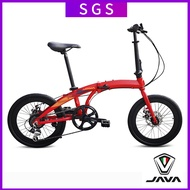 Java Foldable Bicycle Aluminum Alloy Folding Car 20 Inch Double Disc Brake 7 Variable Speed Men's And Women's Bike Commuting Zelo