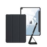 XUNDD軍事筆槽版 2019 iPad mini 5/4 鏡頭全包休眠喚醒 磁吸支架平板皮套(極簡黑)