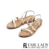 【FAIR LADY】金屬拼接S型曲線楔型涼鞋(白、102135)