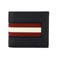 【BALLY】BALIRO.HP 黑色細皮紅白織帶男對折短夾(黑色)