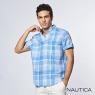 【NAUTICA】涼夏舒適格紋短袖襯衫(藍)