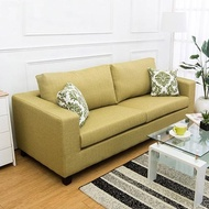 【Bernice】羅伊三人座綠色防潑水亞麻布沙發(送腰枕)