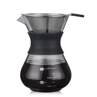 200ML Pour Over Coffee Maker Filter Dripper Glass Container Coffee Percolators Stainless Steel Coffee Filter