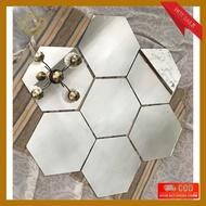 Hexagonal Mirror Glass Hexagonal (Original Glass Size13X11 Cm) Wallpaper Wall Decoration Mirror Sticker