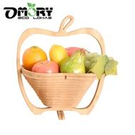OMORY 竹製可折疊收納籃 水果籃 鍋墊 竹製折疊籃 蘋果收納籃