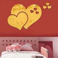 Household Decoration Mirror Sticker Unique DIY Heart-shaped Mirror Sticker Room Wall Decoration