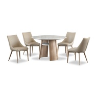 Sara Marble Top Dining Table + 4 Dining Chairs (FREE DELIVERY)(FREE ASSEMBLY)