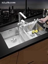 水槽德國加厚手工水槽雙槽304不銹鋼水槽廚房洗菜盆洗碗池套餐臺下盆 LX