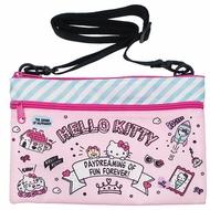 小禮堂 Hello Kitty 尼龍雙層拉鍊扁平斜背袋《粉綠.插圖》側背袋.收納包