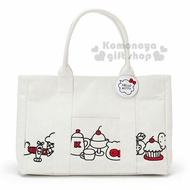 〔小禮堂〕Hello Kitty 帆布刺繡肩背包《白.大臉.甜點》手提包.側背包.歡樂一家親系列