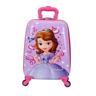 เด็กกระเป๋าเดินทางติดตั้งบนกระเป๋าลากหญิงเคสหนังล้อสากลการ์ตูนเด็กขี่กระเป๋าเดินทางชาย