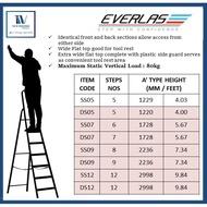 5/7/9/12 Steps Hardness Aluminium Single Sided / Double sided Ladder Everlast