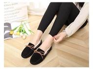 รองเท้าผ้าใบ รองเท้าผู้หญิง คัชชู แฟชั่นเกาหลี แบบโลฟเฟอร์ปะขนนุ่ม ขน (สีดำ)