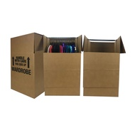 "uBoxes Wardrobe Moving Boxes - Shorty Space Savers - (3 PK) 20x20x34"" w/Bars"