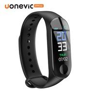 Uonevic M3 สายรัดข้อมืออัจฉริยะติดตามการออกกำลังกายเครื่องนับก้าวบลูทูธกันน้ำติดตามกิจกรรม smartwatch สำหรับผู้หญิงผู้ชาย