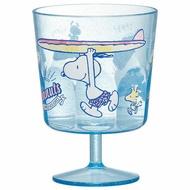 〔小禮堂〕史努比 日製無把透明塑膠矮腳杯《藍.拿衝浪板》260ml.派對杯.飲料杯