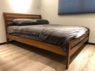 詩肯柚木床架含彈簧床