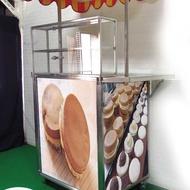 【空間特工】大型紅豆餅攤車(150x70x210)展示餐車  不鏽鋼平台(展開達6尺 附遮陽棚、強化玻璃展示櫃)