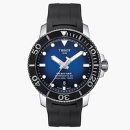 TISSOT天梭 T1204071704100 / Seastar 海洋之星 漸層藍潛水機械錶 / 80小時動力儲存 / 43mm