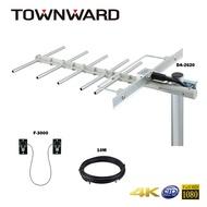 【TOWNWARD 大城科技】數位天線 電視天線 TAC-6000 組合包 無線電視 免費電視 同軸電纜線 過窗線