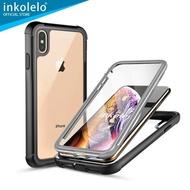 Inkolelo Apple iPhone X iPhone XS 360องศาเต็มรูปแบบป้องกันการกระแทกหน้าและหลังฝาครอบป้องกัน