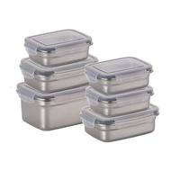 【NEOFLAM】不鏽鋼304食品級長型保鮮盒6件組(烤箱適用)