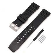Black Silicone Rubber Watch Band 18mm 20mm 22mm Fit for Seiko Watches Replacement Divers Model PVC Watch Strap for Men and Women