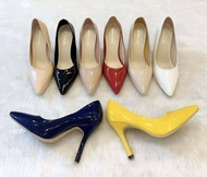 Niwa shoes รองเท้าคัชชูส้นแหลม สูง 3.5 นิ้ว หนังแก้ว รุ่น 009