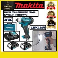 (100%)ORIGINAL TD110DWYE MAKITA CORDLESS IMPACT DRILL 12V X 1.5AH (2UNIT BATTERY)