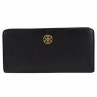 Tory Burch Landon Leather Hidden Zip Continental Wallet (BLACK)