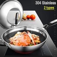 Layer 304 Stainless Steel Wok Smokeless Honeycomb Non-stick Wok