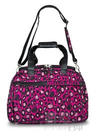 【真愛日本】14052000020 LF聯名旅行袋-豹紋桃黑 Kitty 凱蒂貓 loungefly聯名 行李包 登機包 正品