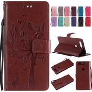 For OnePlus 5T Case, Ougger Premium PU Leather Flip Stand Wallet Cover Magnetic-Buckle Protective Soft TPU Bumper Case for OnePlus 5T with Card Slot, Cat & Tree             (Light Brown)