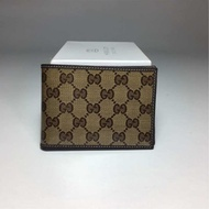 Gucci_wallet Gucci_292534 men's two fold wallet in brown logo with Box and Receipt
