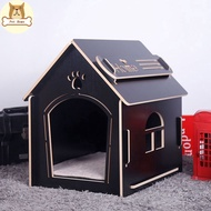 Teddy Wooden Property Box Small Medium-sized Indoor And Outdoor Kennel House Cat Dog Cage Shelter Mat