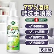 台灣製造75%酒精乾洗手噴霧隨身噴瓶100ml(6瓶組)