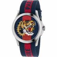 【洋碼頭】GUCCI古馳 Garden系列老虎刺繡錶盤分雙針顯示時尚雙色帆布錶帶中性休閒石英手錶YA126495