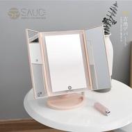 SP SAUCE - LED燈三面鏡 補光化妝鏡梳妝鏡 (粉紅)