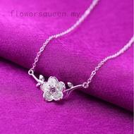 Vintage Oriental Cherry Blossom Flower Pendant Necklace Women Elegant Jewelry