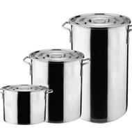 湯桶不銹鋼桶帶蓋商用圓桶大容量水桶加厚油桶米桶鹵桶不銹鋼湯鍋   ATF 極有家