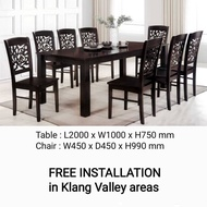 Q 10 - 1+8 Solid Wood Dining Set / 8 Seater Solid Wood Dining Table Set / Solid Wood Dining Table With 8 Chairs / Solid Wood Dining Set (TWH)